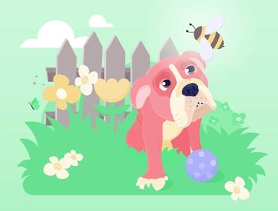 Moana bulldog vectorgraphics vector illustration dog illustration flowers garden animal dog bee nature
