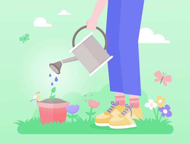 Gardener springtime nature flowers vector illustration vectorgraphics gardening gardener garden