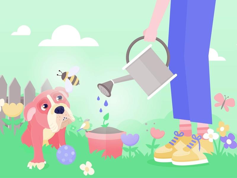 Moana and I plant flowers animal vectorillustration vectorgraphics nature dog illustration bulldogs dog gardening garden
