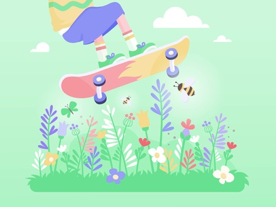 Skater girl vectorillustration vectorgraphics meadow park garden wildflower girl nature vectors springtime spring flowers skateboard