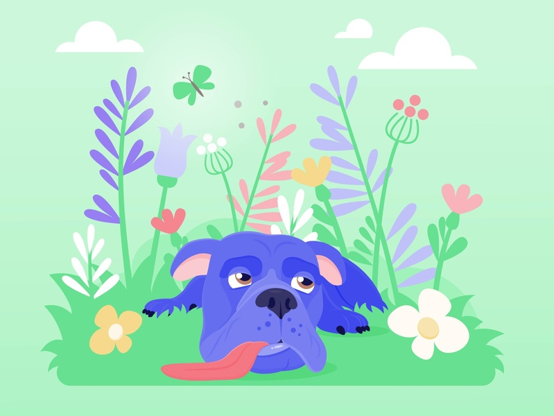 Wilson chilling animal vectorgraphics nature dog garden illustration