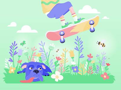 springtime flatdesign spring garden skateboard animals bulldog flowers dog vectorgraphics nature illustration