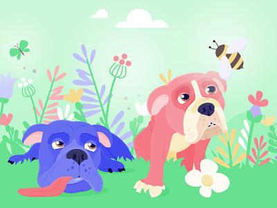 Wilson an Moana bee garden dog bulldog
