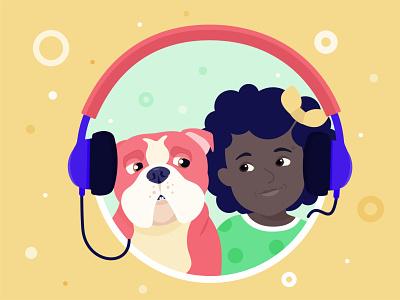 friendship kids illustration kids dog bulldogs friends friendship vectorart vectorial illustration