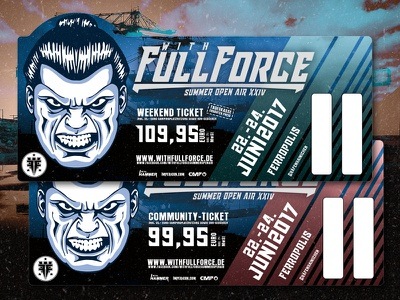 With Full Force 2017 streak red blue branding graphicdesign tickets festival wff