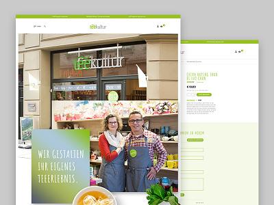 Teekultur Our Store tea leaves redesign onlineshop ecommerce webdesign ux ui green