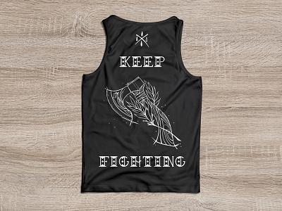 Motivation: Training screenprinting sketch illustration training merchandise keepfighting tanktop shirt printdesign