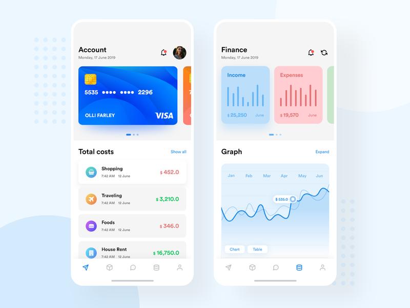 Finance App app design adobe xd user interface design user experience userinterface gradient vector ux mobile ui application design flat minimal minimal design photoshop ui
