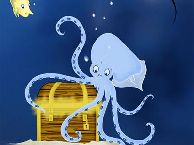 The Kreaken And The Treasure Chest illustration photoshop animal sea legendary