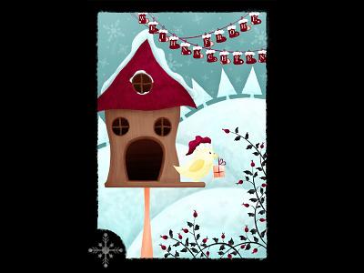 Christmas Card illustration photoshop painting art christmas snow ice bird