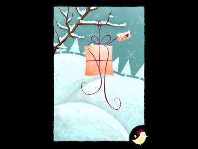 Cristmas Card 2 illustration photoshop painting art christmas snow ice bird