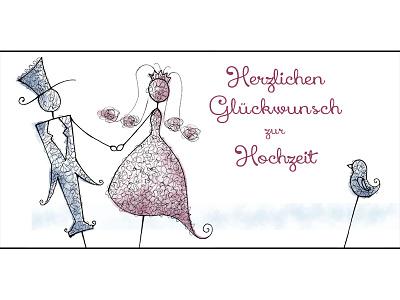 Wedding Greetings illustration photoshop painting art ink curls