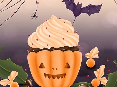 Pumpkin Cupcake pumpkin recipe illustration evil nightmare ghost horror halloween