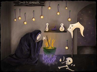 Soul Alchemy skull bones netherworld universe death reaper samhain alchemy soul illustration evil horror halloween