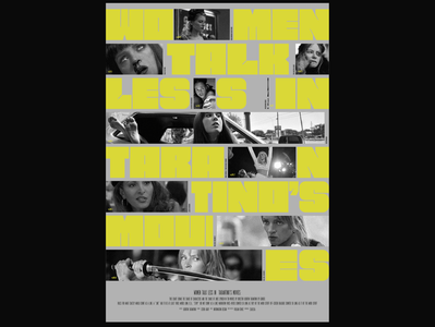 Women Talk Less In Tarantino's Movies Infographic Poster yellows poster art poster a day vector design typographic poster typographic typogaphy poster design infographicposter infographic design infographic poster