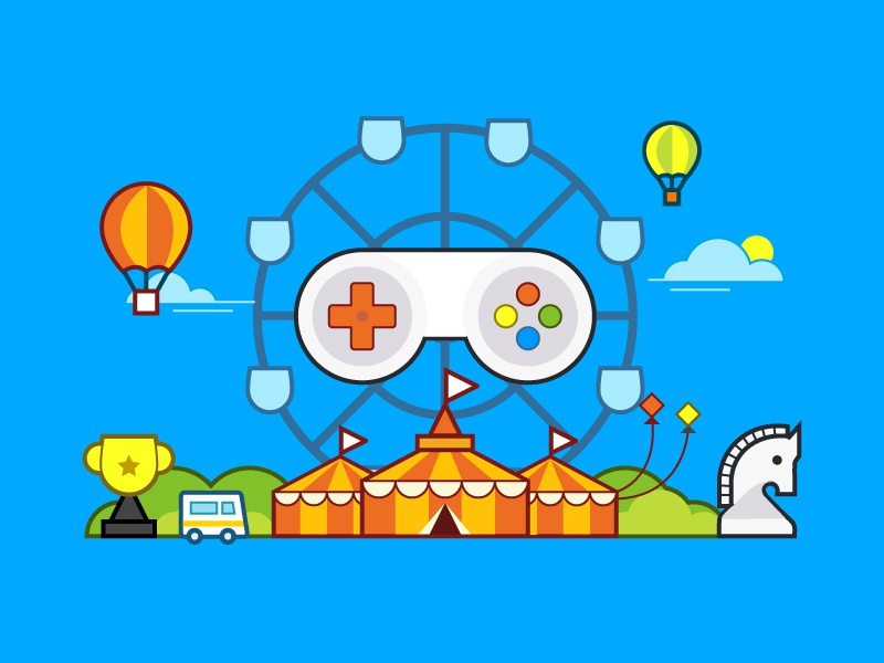 Games Carnival balloons illustration circus tent knight controller games carnival
