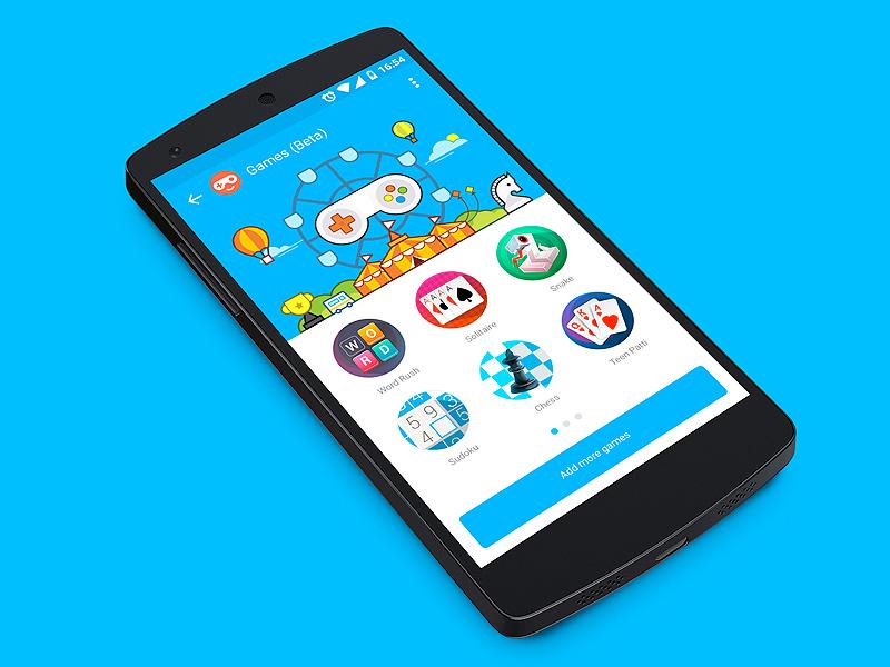 Games Platform in Hike Messenger illustration games android