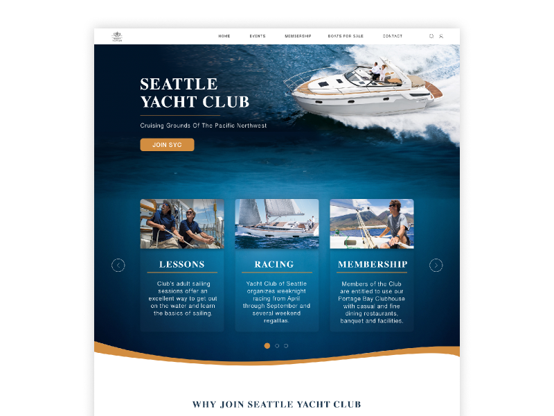 Seattle Yacht Club Webpage by Olga Cebotarenco on Dribbble