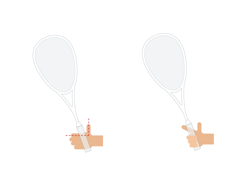 Illustration of a hand holding a squash racket