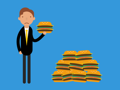 Information overload information training burgers illustration