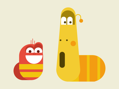 Red and Yellow fan art larva