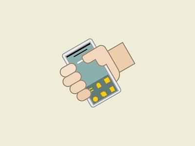 Handy app hands phones lines illustration