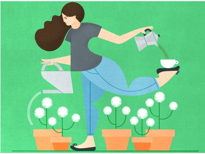 Coffee & Cosmos coffee pot coffee girl flowers character illustration editorial illustration