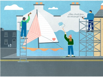 Vulnerability In An Age Of Oversharing photoshop adobe advertising landscape boat mural urban building girl texture 2d design character design editorial illustration illustration