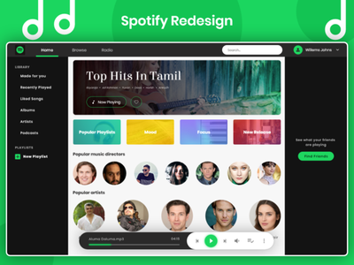 Spotify UI Redesign music player web music music app music