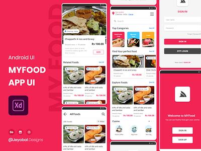 MYFood Mobile App Visual Design design mobile app design mobile app mobile ui