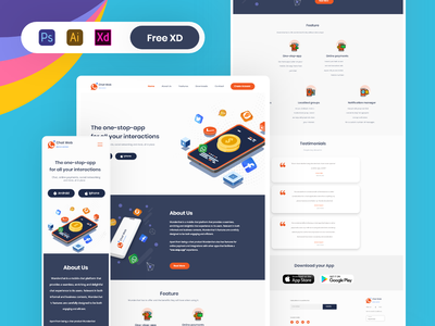 Chat app website | Landing page | Responsive landing page chat app web