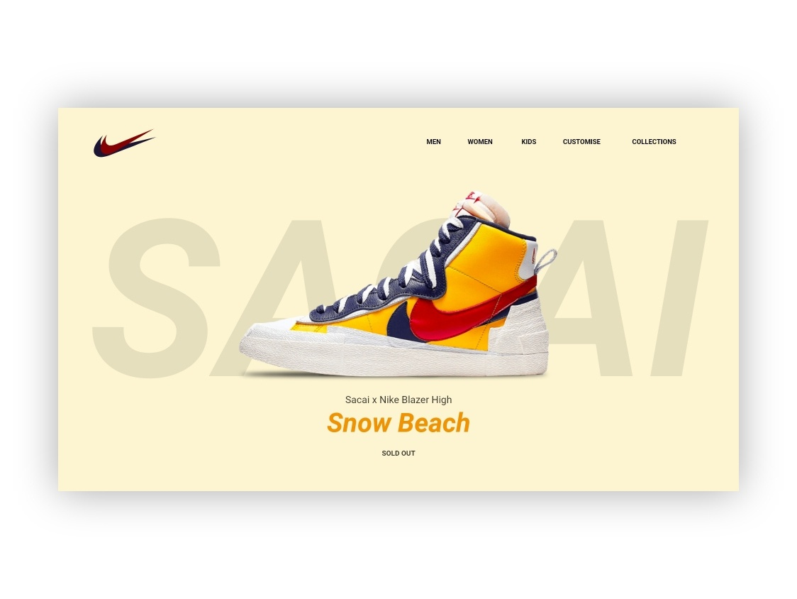 Sacai x Nike Blazer High Web Design sneaker shoe blazer sacai nike brand landing page adobe typography ux ui web branding dribbble design