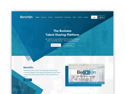 BenchOn Landing Page ux design blue business corporate professional landing typography photoshop page web branding adobe dribbble design interface experience ux ui