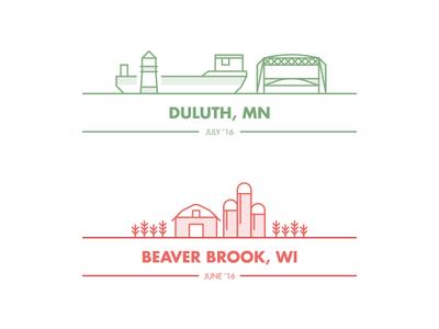 Minnesota/Wisconsin duluth minnesota usa illustration lines