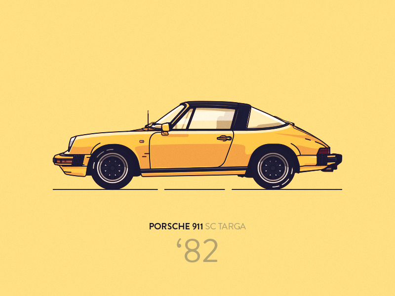 porsche 911 sc targa 39 82 yellow by micha zag rski on dribbble. Black Bedroom Furniture Sets. Home Design Ideas