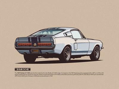 SHELBY GT500 vector sunrise slick shelby retro racing palette illustration gt500 flat design classiccars