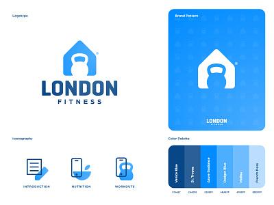 London Fitness - Brand Identity Design workout app personal training negative space mark design logotype designer kettlebell house home gym logo fitness branding brand identity