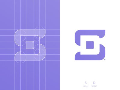 SD Logomark Grid thick lines sd portfolio smart mark s letter negative space logotype designer logomark logo design grid layout for sale unused buy branding brand identity