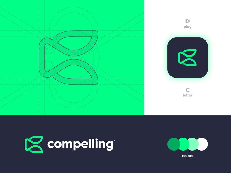Compelling - Brand Identity Design logomark logotype designer lettermark smart mark negative space monoline letter c play button grid layout branding brand identity app logo design
