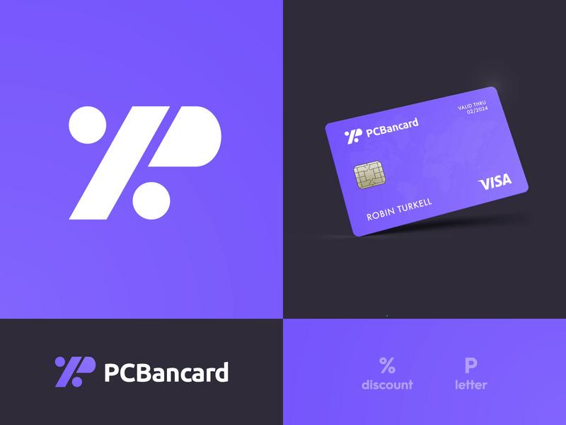PC Bancard - Brand Identity Design typography design smart mark lettermark discount bank app credit card p logo logotype designer identity branding brand