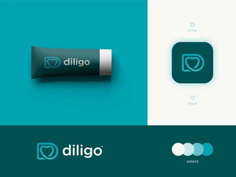 Diligo - Brand Identity Design skincare beauty product packaging design logotype designer monoline heart logo lettermark letter d branding brand identity online store ecommerce