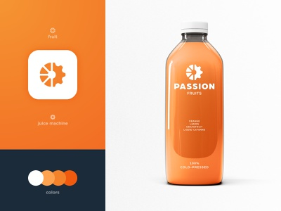 Passion Fruits - Brand Identity Design bottle package orange visual identity smart mark packaging design logotype designer cog branding brand identity fruit logo juice bar