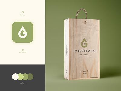 12 Groves - Brand identity Design negative space logo luxury visual id smart mark olive oil logotype designer g letter branding brand identity packaging design box package