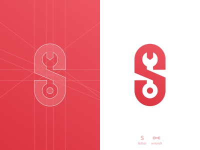 S wrench, letter mark, negative space logo design symbol icon s for sale app icon symbol monogram letter mark icon a b c d e f g h i j k l m n o p q r s t u v w x y z identity designer wrench tool smart mark negative space logomark logo design grid layout for sale unused buy branding brand identity