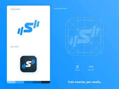 Strong App - New Logo style guide training rebrand brand identity branding gym logo fitness app dumbbell barbell s letter workout identity designer