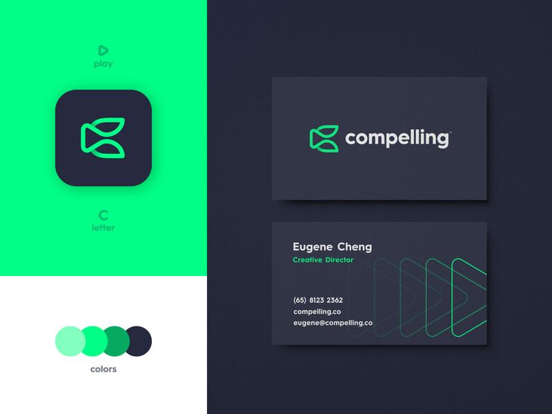 Compelling - Business Card Design green modern logomark lettermark play button monoline logotype designer c letter business card branding brand identity app logo design