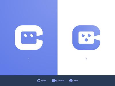 Camming Website - Logo Concepts eyes letter c video camera negative space logo mascot avatar human head person branding brand identity logomarks