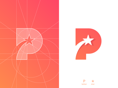 P + star, letter mark, negative space logo design symbol icon p for sale app icon symbol monogram letter mark icon a b c d e f g h i j k l m n o p q r s t u v w x y z 36 days of type clever smart mark negative space logomark logo design grid layout for sale unused buy branding brand identity shooting star