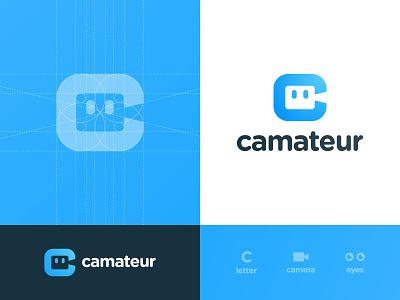 Camateur - Logo Design porn search engine video camera negative space logo logotype designer mascot logomark letter c human head branding brand identity eyes