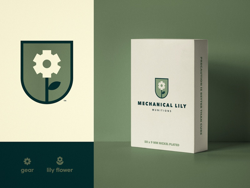 Mechanical Lily Munitions - Packaging Design box package packaging logotype designer flower logo double meaning gear cog branding brand badge design army